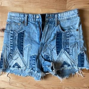 Patchwork Jean Shorts